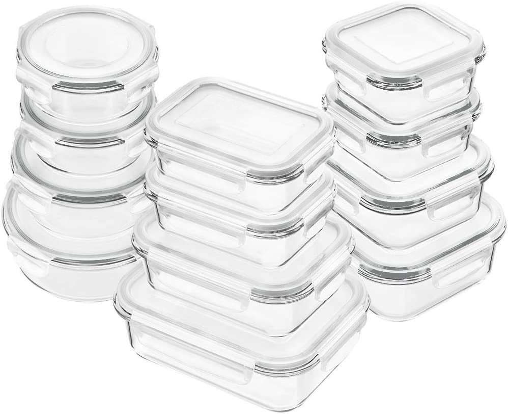 Bayco Glass Food Storage Containers with Lids, [24 Piece] Glass Meal Prep Containers, Airtight Glass Bento Boxes, BPA Free & Leak Proof (12 lids & 12 Containers) - White