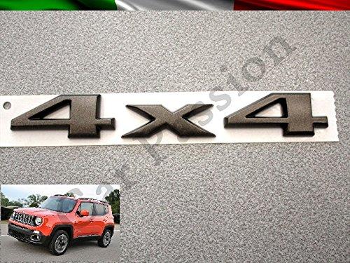 Scritta Stemma Logo 4X4 75th Anniversary Jeep Renegade Cherokee Grand Cherokee Compass Posteriore Originale Nero Opaco