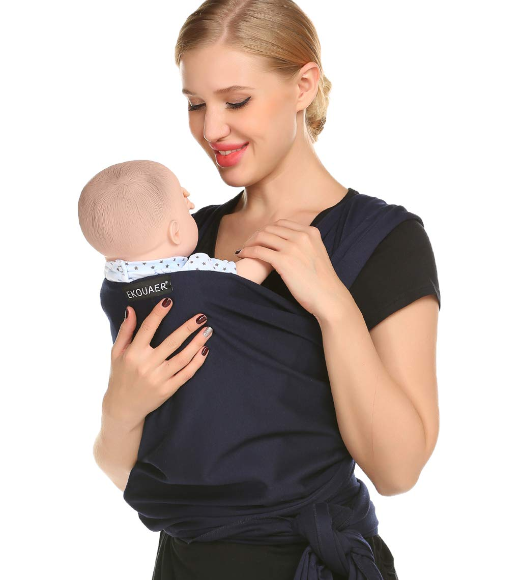 Ekouaer Baby Wraps Carrier Sling – Stretchy Babies Wrap – Infant Carriers Wraps for Babies Up to 45lb 0-3 Years