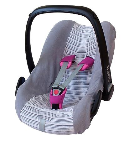 ByBoom® - Universal Sommerbezug, Schonbezug aus Frottee mit Streifen für Babyschale, Autositz, z.B. Maxi Cosi Cabrio Fix, Cit