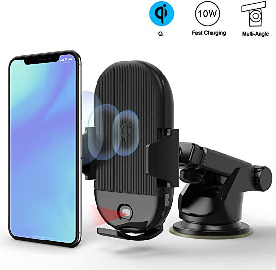 7.5W 10W Fast Charging Dashboard Air Vent Phone Holder Compatible with iPhone Xs Max XR X 8 Plus Galaxy S10 S9 S8 Wireless Car Charger Mount ZCOLOGY Automatic Clamping Qi Phone Car Mount