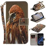 Misteem Case for Samsung Galaxy S7 Edge Animal, Cartoon Anime Comic Leather Case Wallet with Bookstyle Magnetic Closure Card Slot Holder Flip Cover Shockproof Slim Creative Pattern Shell Protective Cover for Samsung Galaxy S7 Edge [Eagle]