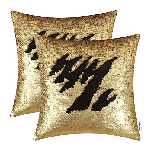 CaliTime Pack of 2 Throw Pillow Covers Cases for Couch Sofa Home Decoration Sparkly Reversible Sequins Mermaid Magic Contrast Color Change 18 X 18 inches Gold/Black ()