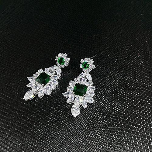 Generic Green_square_ Retro _luxury_ fashion _CZ_ necklace Pendant s_ earrings bracelet s_ wedding jewelry bridal wedding _dress by Generic