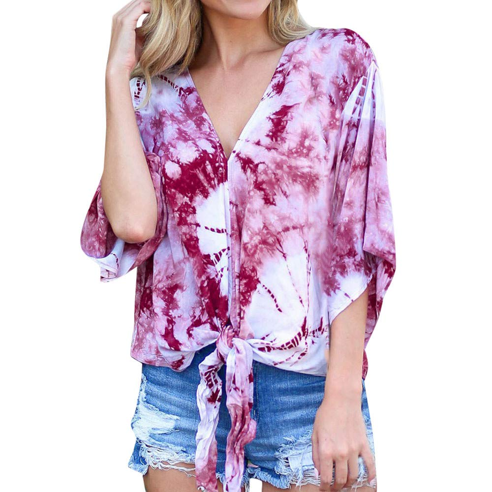 Amazon.com : Clearance!HOSOME Women Top Womens Summer Autumn Women Casual V-Neck Printed Lace-up 3/4 Flare Sleeve Bandage Loose Top Blouse : Grocery ...
