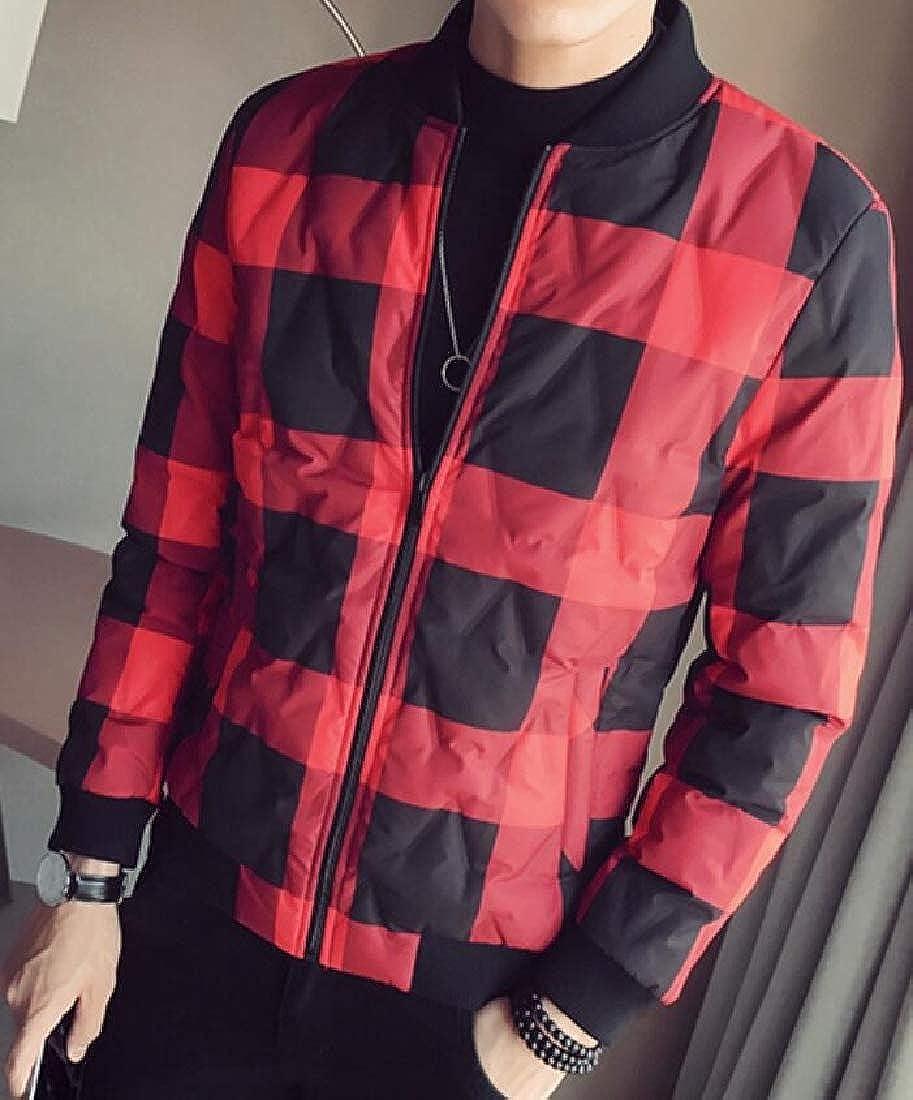 pipigo Mens Mandarin Collar Regular Fit Plaid Quilted Warm Winter Down Jacket