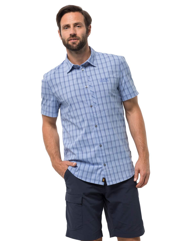 Jack Wolfskin Camisa de viaje a cuadros para hombre Rays Stretch Vent con protección UV, camisa a cuadros azules, extragrande
