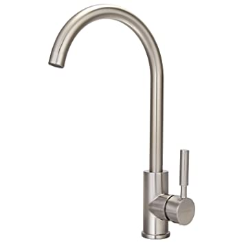 Homeideas Kitchen Sink Faucet Gooseneck Hot And Cold Single Handle
