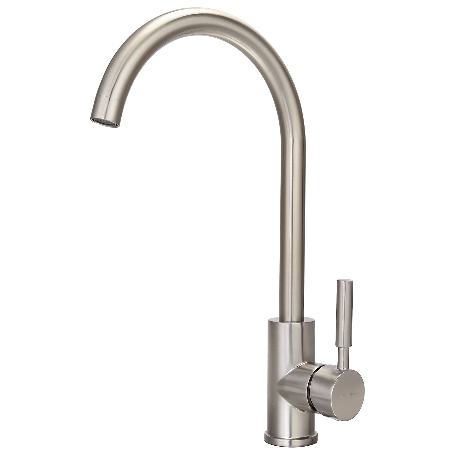 HOMEIDEAS Kitchen Sink Faucet, Gooseneck Hot and Cold Single Handle Water Faucets 360 Degree Swivel Brushed Nickel Finished, Food Grade 304 Stainless Steel