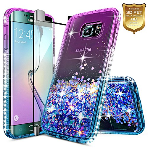 hot sale S6 Edge Case with [Full Coverage Premium HD Screen Protector], NageBee Quicksand Liquid Floating Glitter Flowing Sparkle Bling Diamond Cute Case For Samsung Galaxy S6 Edge S VI Edge G925 - Purple/Blue