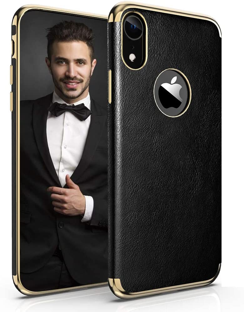 LOHASIC iPhone XR Leather Case, Luxury Electroplated Thin Slim PU Leather Soft Flexible TPU Hybrid Bumper Non-Slip Grip Shockproof Full Body Protective Cover Cases for Apple iPhone XR 6.1 inch (Black)