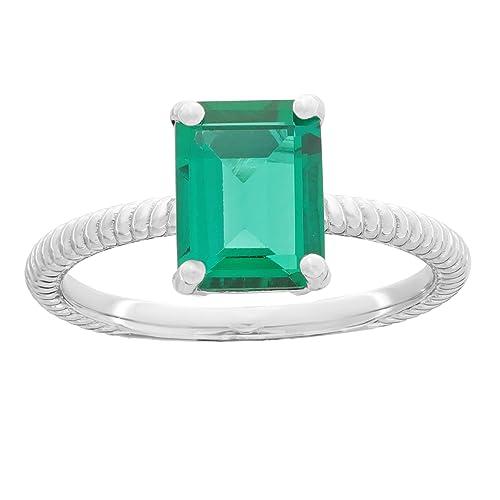 Amazon.com: Anillo de plata de ley 925 esmeralda con forma ...