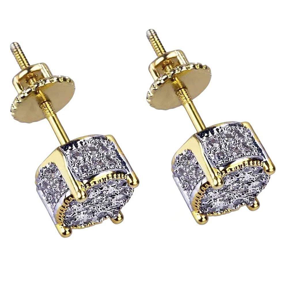 KingFurt Hip Hop Earring, 18k Bling Bling Gold Plated Silver Screw Back Stud Round Earrings For Men and Women by KingFurt