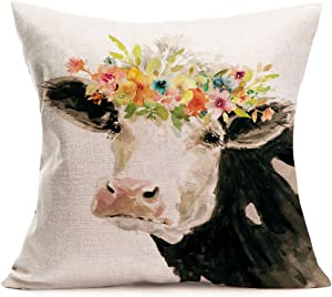 Fukeen Watercolor Painting DairyCow Throw Pillow Cases Adorable Farm Animals with Flower Wreath Decorative Pillow Cushion Covers Cotton Linen Rustic Farmhouse Chair Decor Square 18x18 Inch Pillowcase