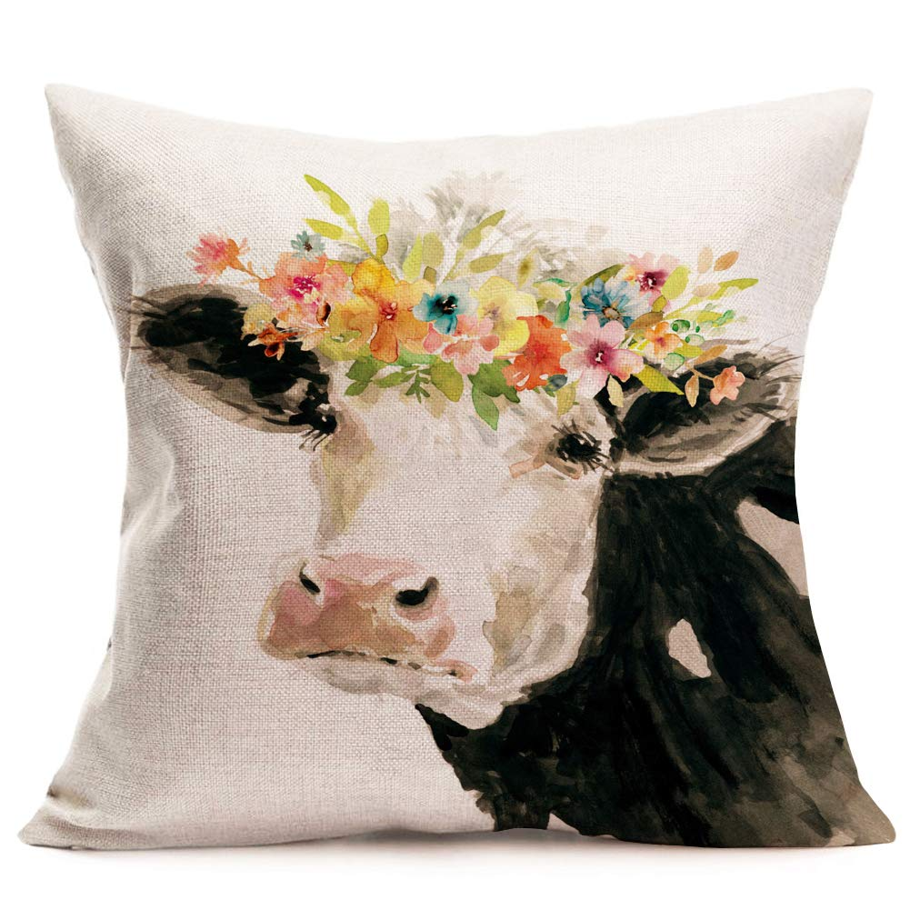 Smilayrd Farm Animal Farmhouse Pillow Covers Oil Painting Lovely Cow with Beautiful Flower Decor Throw Pillow Case Cotton Linen Rustic Country Animal Cushion Cover Outdoor for Sofa 18x18 Inch (Cow)