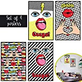 Matching Set of Four 11X17 Pop Art Retro Art Prints - Hipster Vintage Home and Office Decor with Included Double Sided Mounting Tape!