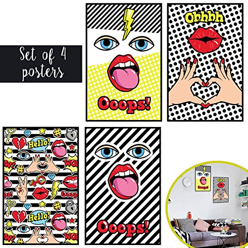 Matching Set Of Four 11X17 Pop Art Retro Art Prints - Hipster Vintage Home and Office Decor with Included Double Sided Mounting (What To Wear To 80s Party)
