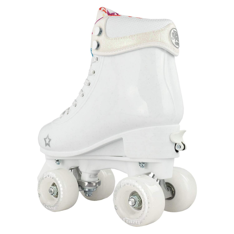 Crazy Skates Glitter POP Adjustable Roller Skates for Girls and Boys | Size Adjustable Quad Skates That Fit 4 Shoe Sizes | White (Sizes jr12-2) by Crazy Skates (Image #7)
