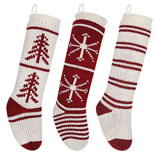 LimBridge Christmas Stockings, 3 Pack 20 inches Large Luxury Knit Knitted Classic Xmas Tree Snowflake Stripe, Rustic Personalized Stocking Decorations for Family Holiday Season Decor (Christmas Stockimg)