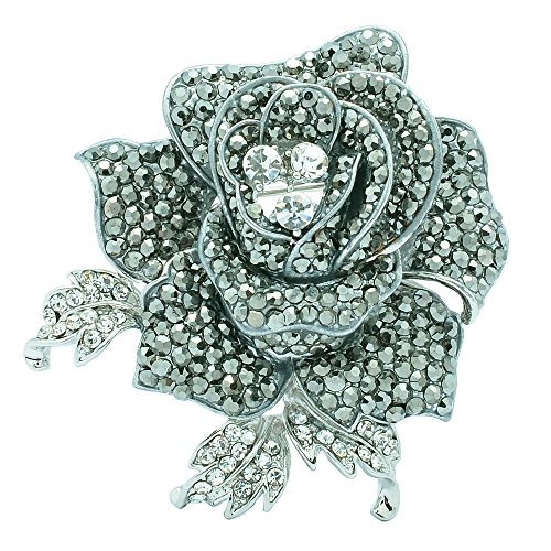 SEPBRIDALS Rose Flower Brooch Pin with Rhinestone for Women Birdal Girl Prom Jewelry (Black)