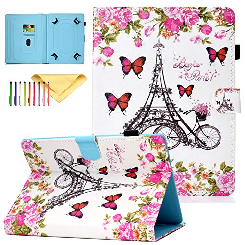 Cookk Universal 9.5-10.5 Inch Tablet Case for ipad 9.7, Galaxy Tab 9.6 Inch Tablet Cover, for 10.1 Inch Tablet and More, Flower Tower