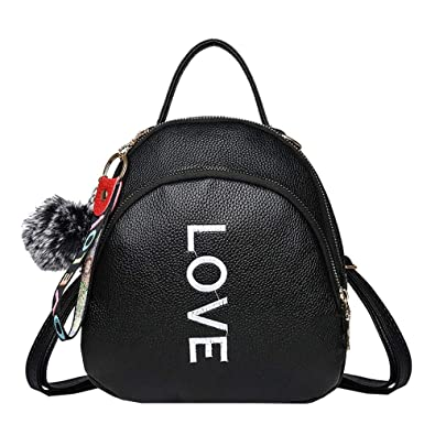 Girls Backpack Daypack Rucksack Shoulder Crossbody Messenger School Bag  Hairball Solid Colour TravelBookbag Satchel Faux Leather Casual For Women  Ladies ... 03b08edf35990