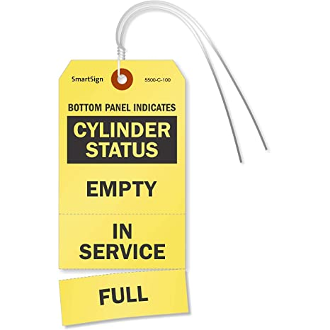 3-Part Gas Cylinder Status Perforated Tags with Pre-Attached Wire, 100  Tags/Pack, 3 125