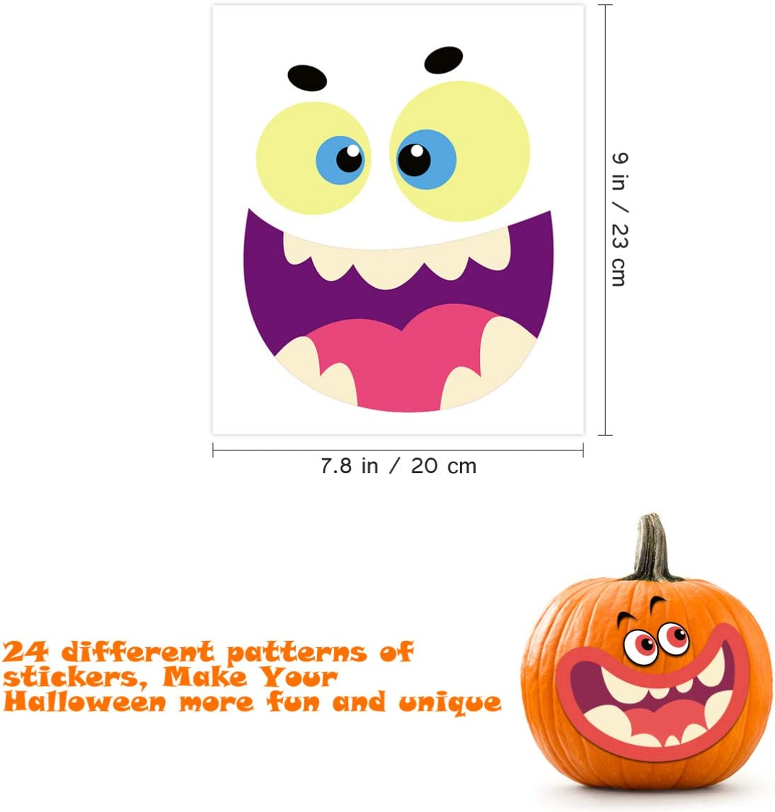 Pumpkin Decorating Sticker Halloween Sticker Decoration for DIY Halloween Pumpkin Decoration 24 Sheets