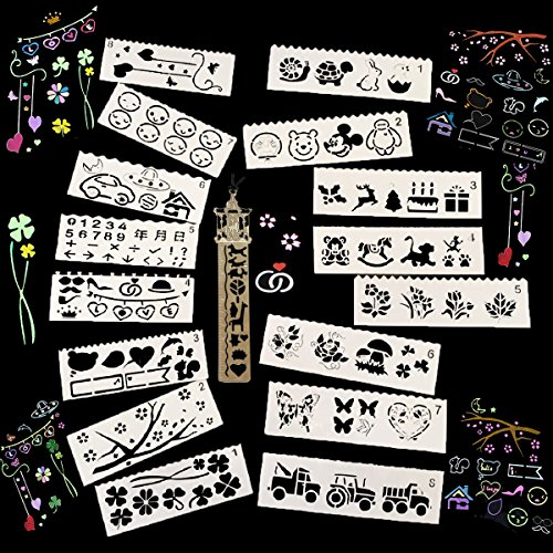 Bullet Journal Stencils with a Template Ruler,Drawing Stencils for Kids,16 PCS Stencils for Scrapbooking,Planner,Notebook,Diary Bullet Journal Planner Painting Drawing