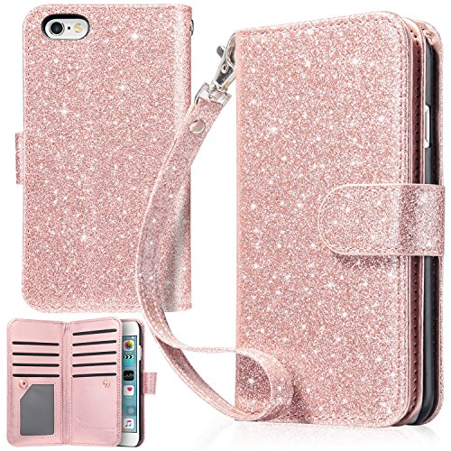 iPhone 6S Case, iPhone 6 Case, UrbanDrama iPhone 6S Wallet Case Sparkly Glitter Shiny PU Leather Folio Credit Card Slot Cash Holder Protective Case for iPhone 6 / iPhone 6S - Shiny Pink