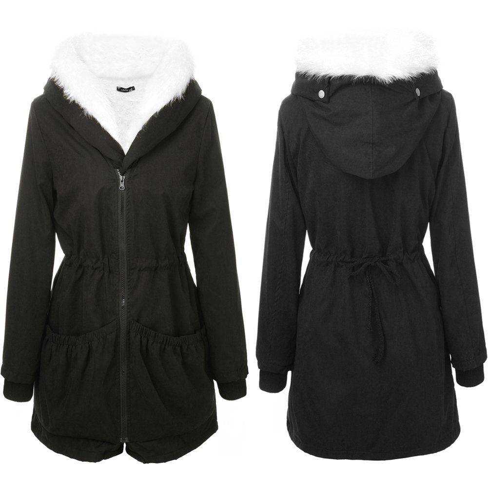 Aofur Womens Casual Coat Hooded Jacket Winter Parka Zip Lining with Fur Aofur-M238