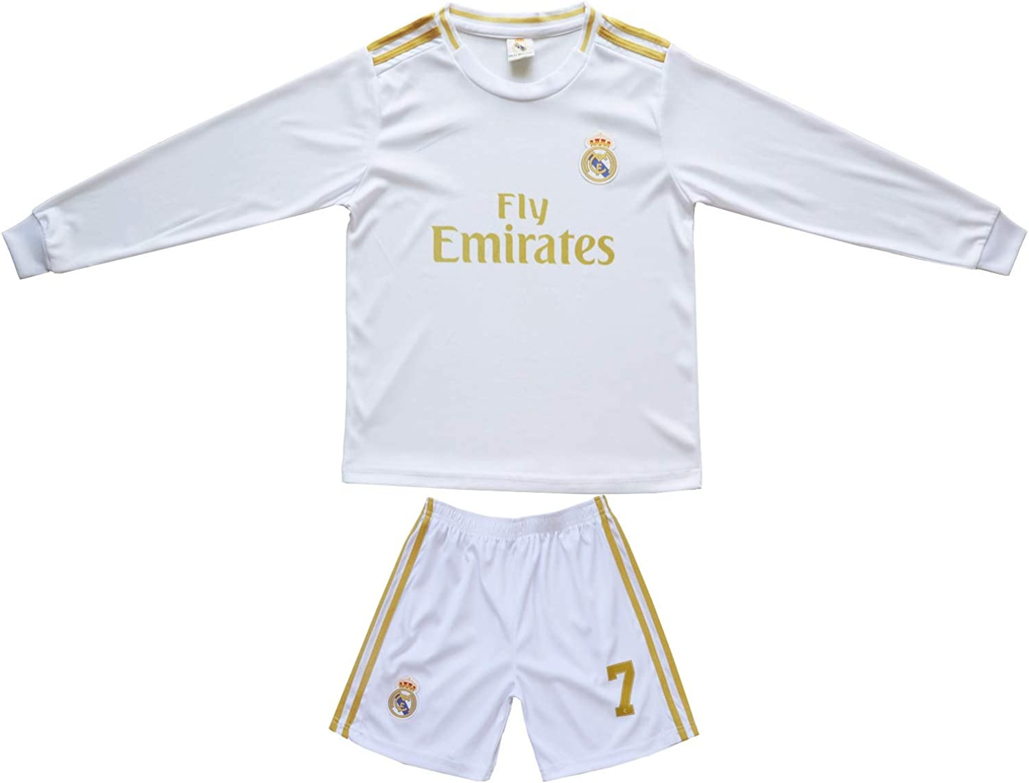 SecenMerch 2019//2020 New Hazard No #7 Real Madrid Home White Kids Long Sleeve Soccer Jersey Kit Shorts Socks Set Youth Sizes