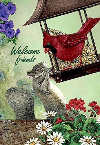 JoyPlus Welcome Cardinal Bird & Squirrel Garden Flag - Verti