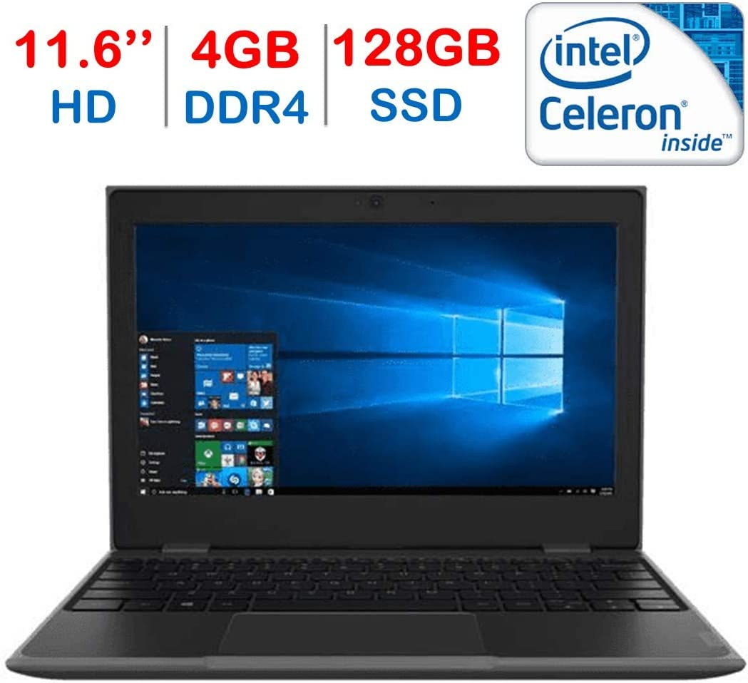 "Lenovo 11.6"" HD LED Anti-Glare HD Education Laptop, Intel Celeron N3450 Dual-Core up to 2.2GHz, 4GB DDR4, 128GB SSD, WiFi, Bluetooth, HDMI, HD Webcam, Windows 10 Professional w/ Mazery Mousepad"