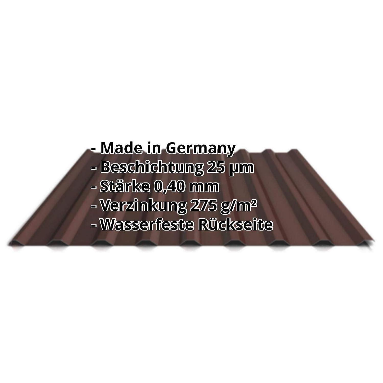 St/ärke 0,40 mm Dachblech Profil PS20//1100TR Profilblech Beschichtung 25 /µm Farbe Kupferbraun Material Stahl Trapezblech