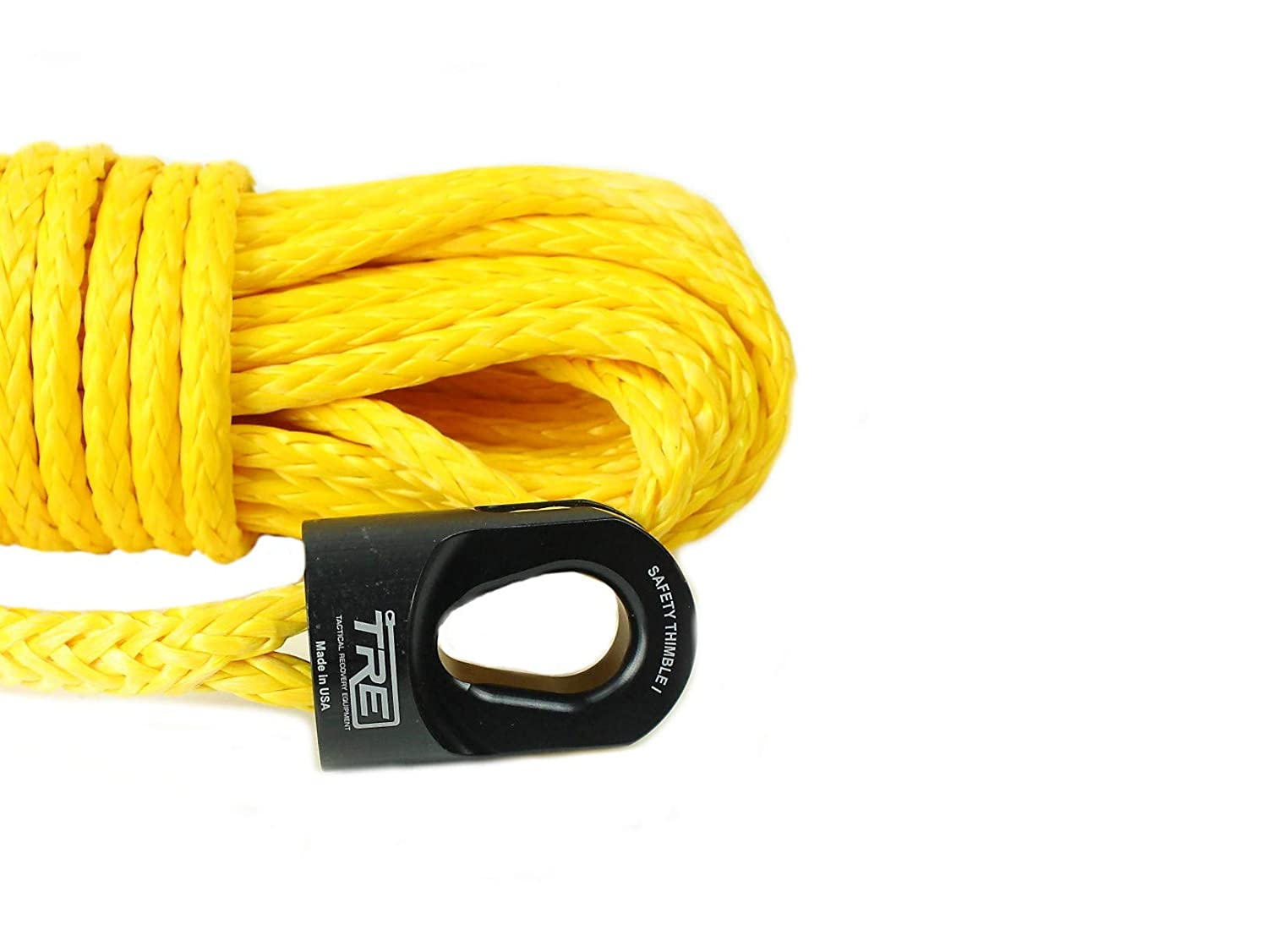 Tactical Recovery Equipment 1/4' x 50 ft. Synthetic Winch Rope - Yellow
