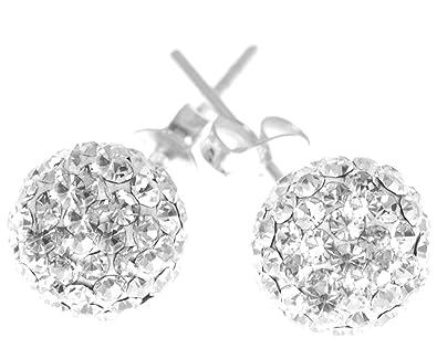 Decorum Jewellery Sterling Silver 925 8mm Swarovski Crystal Ball Stud Earrings. 5t6xHwO