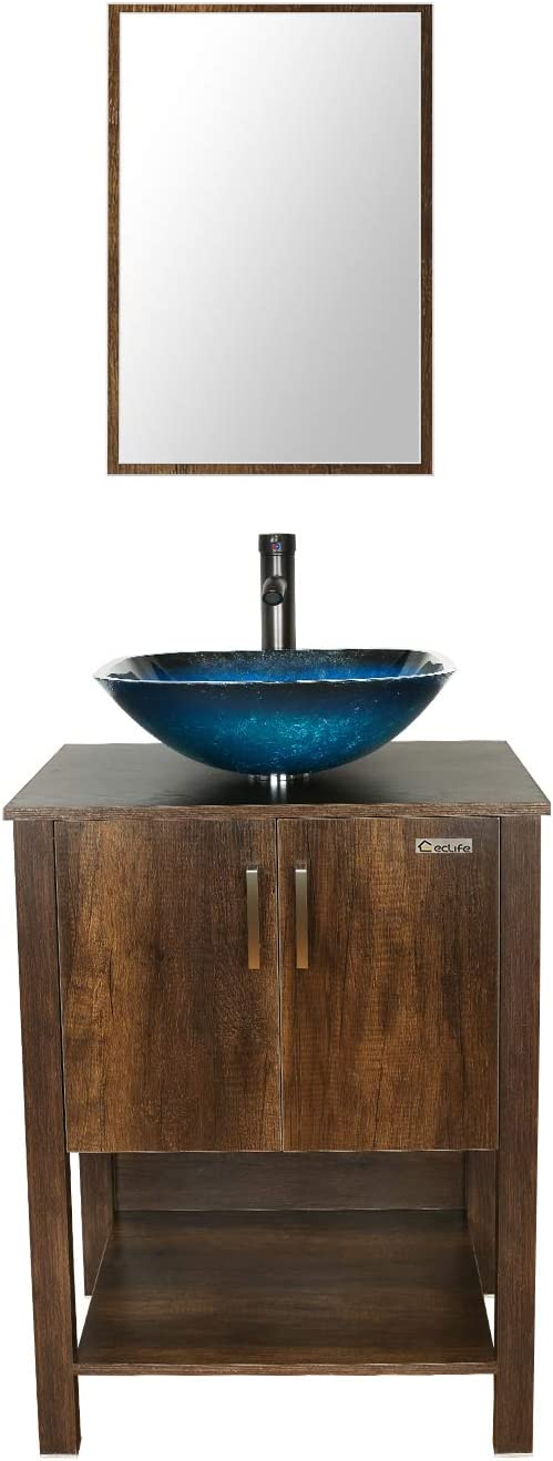 eclife 24'' Bathroom Vanity Sink Combo Brown Cabinet Vanity Ocean Blue Square Tempered Glass Vessel Sink & 1.5 GPM Water Save Faucet & Solid Brass Pop Up Drain,W/Mirror (A04 B12C)