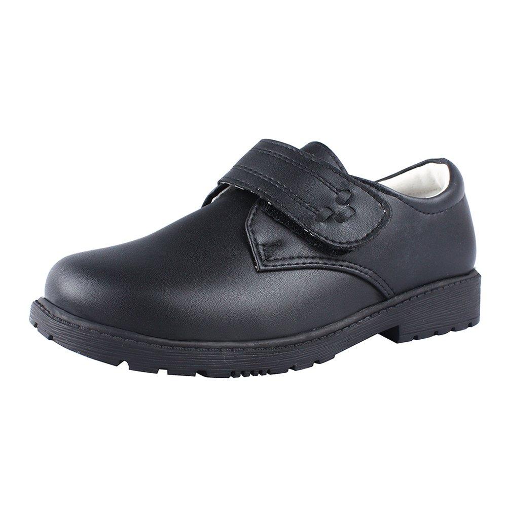 MK MATT KEELY Boys Black School Uniform Genuine Leather Dress Shoes TPR Rubber Sole 37
