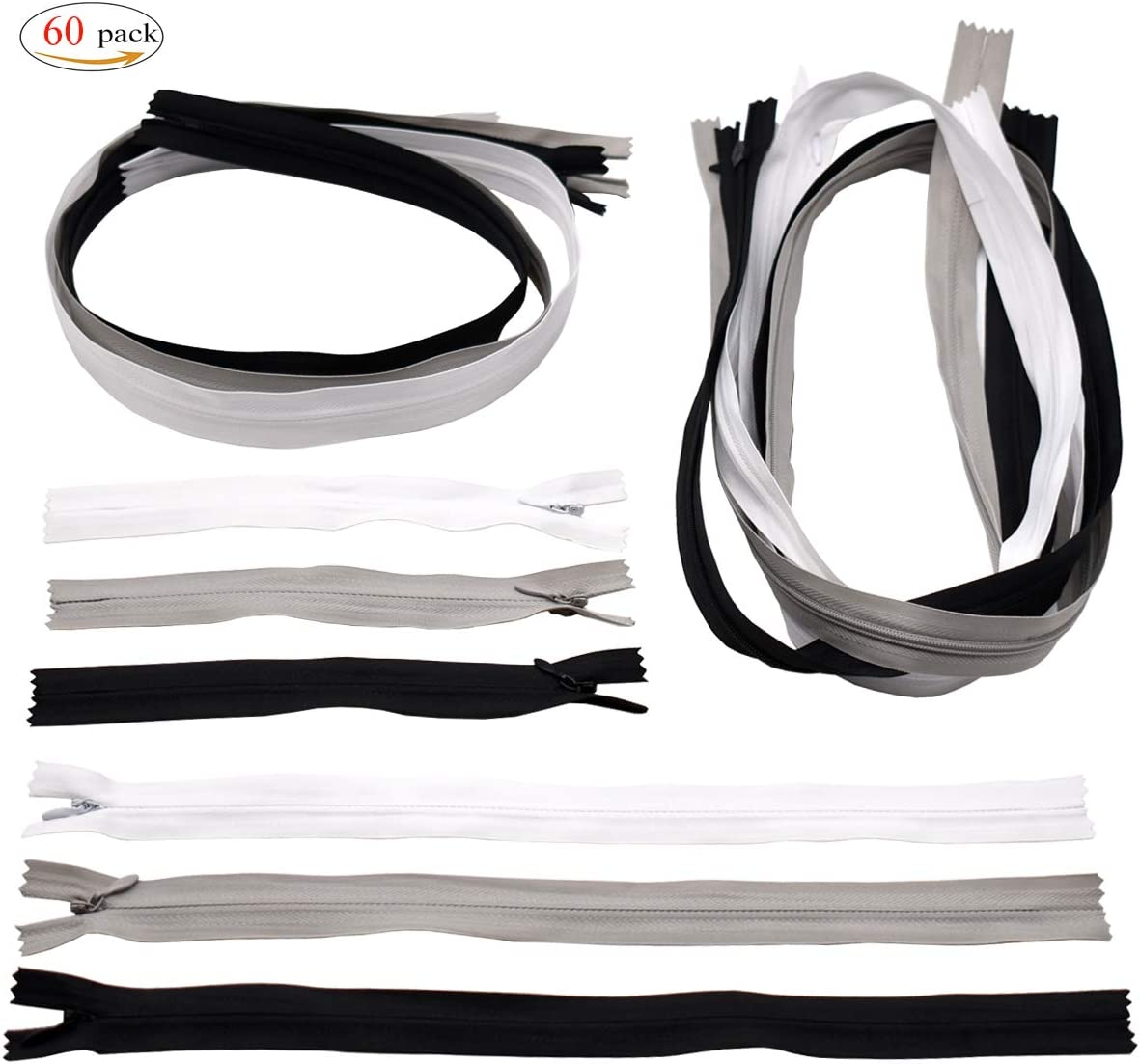 Black White Grey Nylon Coil Zippers,Xiuyer 60 Pieces Assorted Colors Sewing Zippers 16cm 30cm 60cm 120cm Replacement Zips for DIY Making Clothes Purse Handbags Cushions Crafts