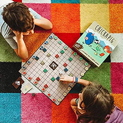 Buffalo Games Chickapig Board Game - A Strategic Board Game Where Chicken-Pig Hybrids Attempt to Reach Their Goal While Dodging Opponents, Hay Bales, and an Ever-Menacing Pooping Cow.: Toys & Games