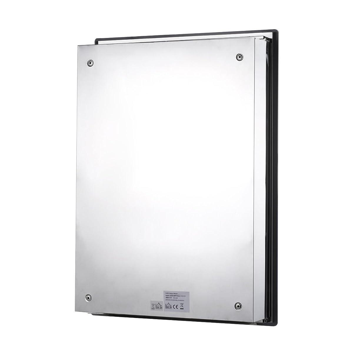 "HOMCOM Vertical 30"" LED Illuminated Bathroom Sliding Wall Mirror Medicine Cabinet - Outline LEDs"