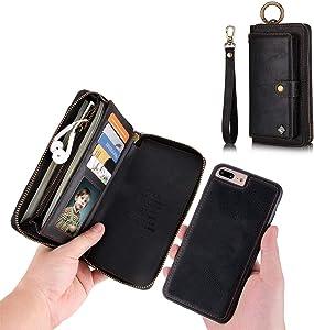 iPhone 7 Plus Wallet Case - JAZ Zipper Purse Detachable Magnetic14 Card Slots Card Slots Money Pocket Clutch Leather Wallet Case for iPhone 8 Plus / 7 Plus Black