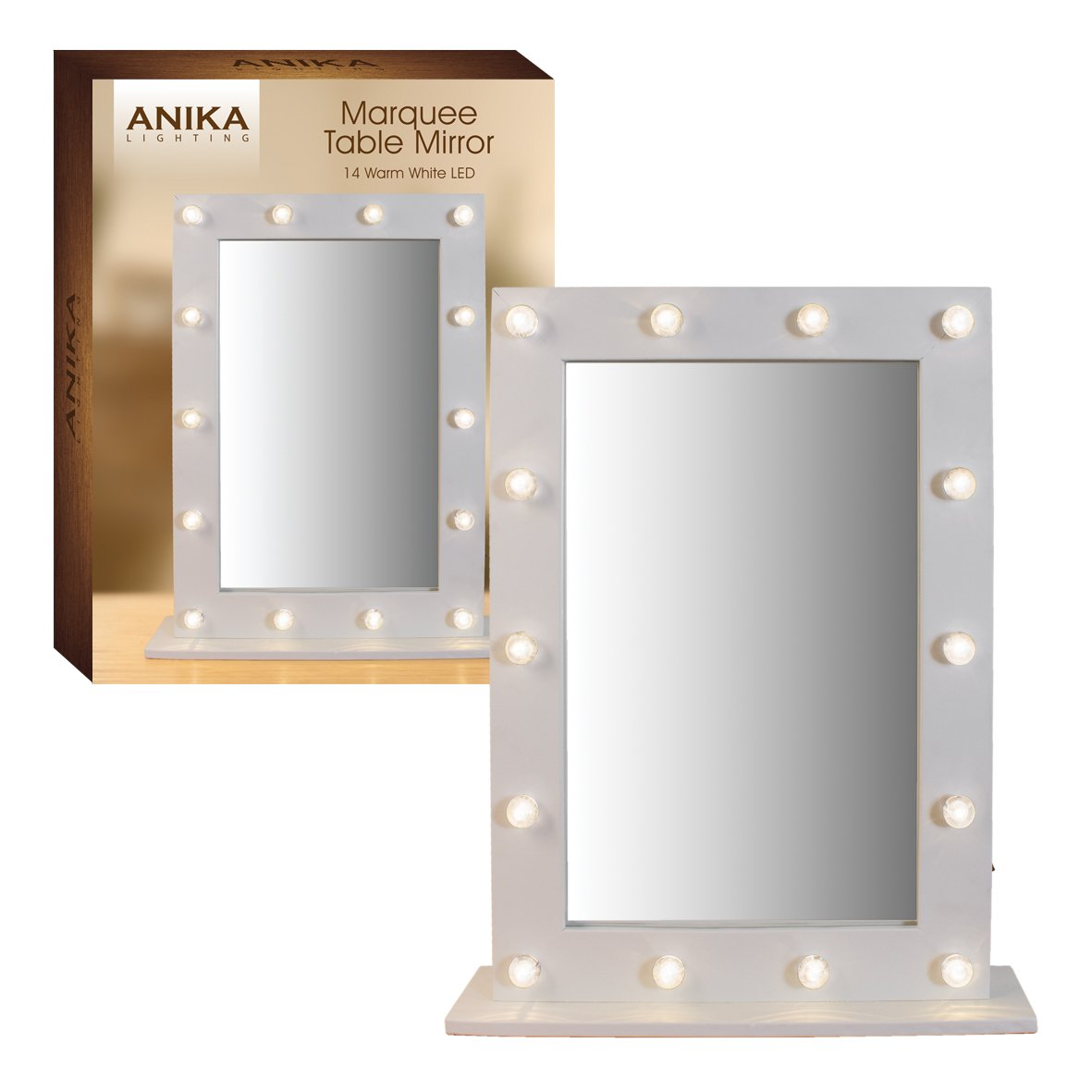Anika Battery Operated Free Standing LED Marquee Mirror, Warm White Benross 62100