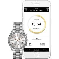 Michael Kors Women's 42mm Access Slim Runway Silvertone Pav= Hybrid Smart Watch