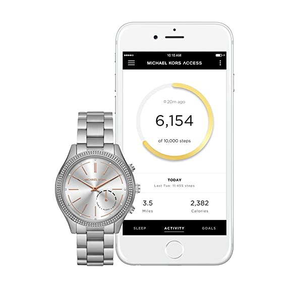 Michael Kors Mujer, 42 mm Acceso Slim Runway Silvertone Pav=híbrida Reloj Inteligente: Amazon.es: Relojes