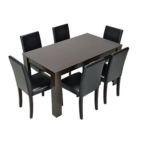 Set da cucina con tavolo in legno effetto quercia e sedie in pelle ...