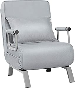Giantex Convertible Sofa Bed Sleeper Chair, 5 Position Adjustable Backrest, Folding Arm Chair Sleeper w/Pillow, Upholstered Seat, Leisure Chaise Lounge Couch for Home Office (Light Gray)