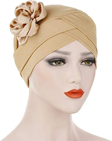 Women Solid Floral India Hat Muslim Ruffle Cancer Chemo Beanie Turban Wrap Cap