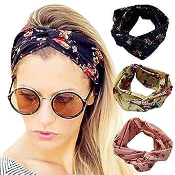 Ever Fairy 4 Pack Women Elastic Flower Printed Turban Head Wrap Headband Twisted Hair Band